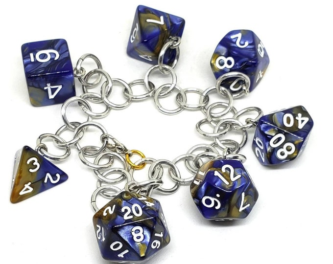 Navy Blue and Yellow Swirl Polyhedral Dice Set Charm Bracelet - Dungeons and Dragons  Dice - DnD Dice
