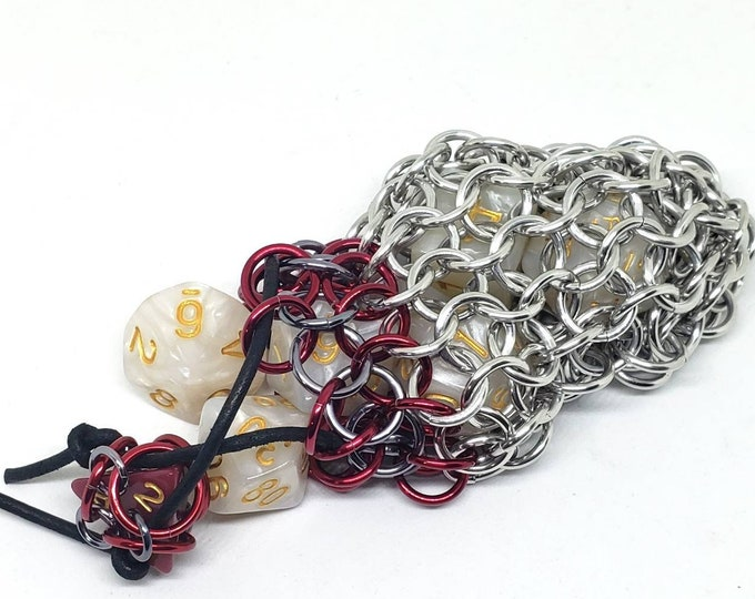 Red and Gunmetal Single Set Chainmaille Dice Bag - Dicebag -  Handmade - Chainmail