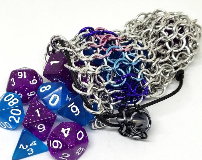 Pink, Purple, and Blue Bisexual Pride Accent Silver Chainmaille Dice Bag -  Double Set Bag - Bi Pride - LGBTQIA+ Pride