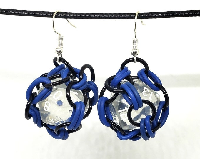 Blue and Black Removable 20 Sided Dice Earring Set - Functional - Chainmaille Earrings - D20 - Dice Earrings