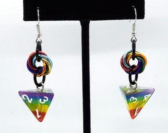 Rainbow D4 Earrings - D&D Earrings - DND Earrings - DnD Dice - Dice Earrings