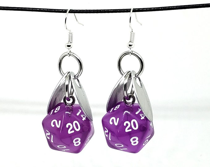 Wings of the Amethyst Sprite Nat 20 Earrings - D20 Earrings - D&D Earrings - DND Earrings - Dice Earrings