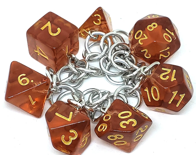 Iced Tea Translucent Polyhedral Dice Set Charm Bracelet - Dungeons and Dragons  Dice - DnD Dice