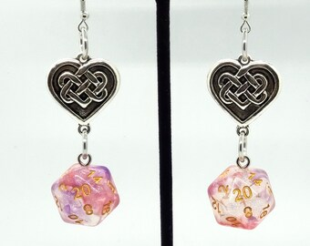 Luminous Ruby Celtic Heart Nat 20 Earrings - D20 Earrings - D&D Earrings - DND Earrings - DnD Dice - Dice Earrings
