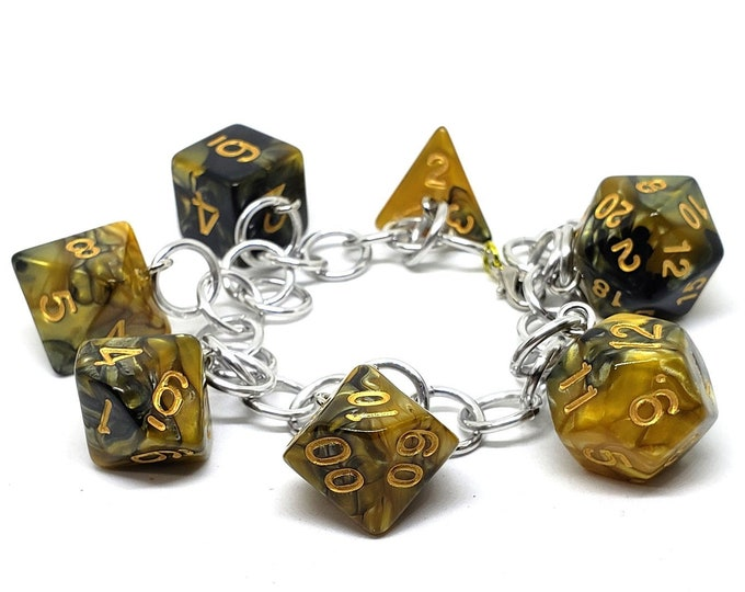 Fool's Gold Swirl Polyhedral Dice Set Charm Bracelet - Dungeons and Dragons  Dice - DnD Dice