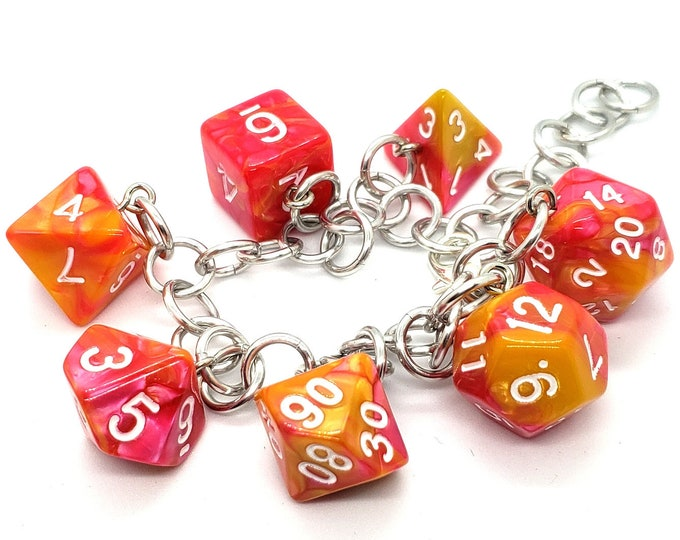Strawberry Lemonade Swirl Polyhedral Dice Set Charm Bracelet - Dungeons and Dragons  Dice - DnD Dice - Pink and Yellow dice