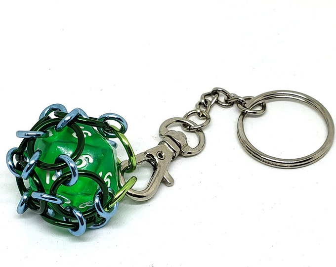 Green, Blue, and Light Green Removable 20 Sided Die Keychain - Functional - Chainmaille Keychain - D20 - Dice  Keychains