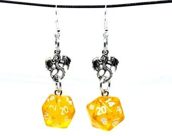 Translucent Honey Dragon Nat 20 Earrings - D20 Earrings - D&D Earrings - DND Earrings - Dice Earrings