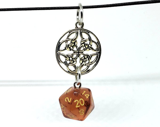 Bard Inspired Translucent Tan Nat 20 Pendant - Dungeons and Dragons Pendant - D&D Dice - Dice Pendant