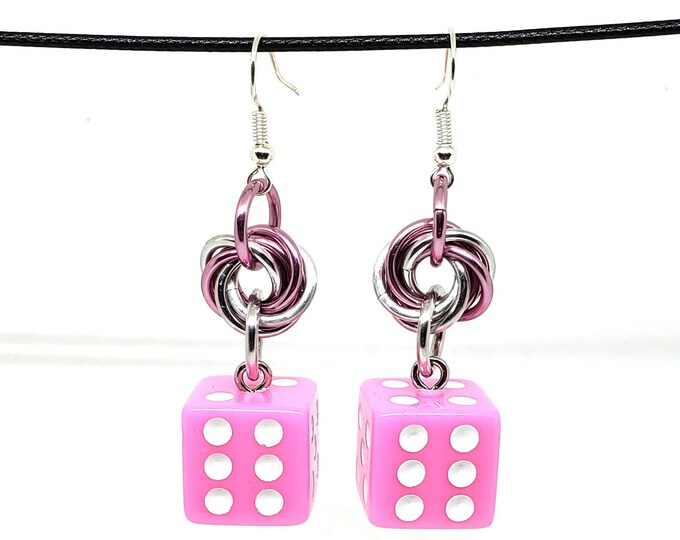 Baby Pink and White Pipped Dice Earrings - D6 Earrings - D&D Earrings - DND Earrings - Yahtzee Dice - DnD Dice