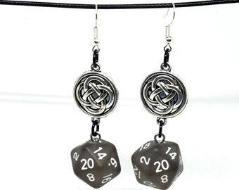 Smoky Black Celtic Charm Nat 20 Earrings - D20 Earrings - D&D Earrings - DND Earrings - Dice Earrings
