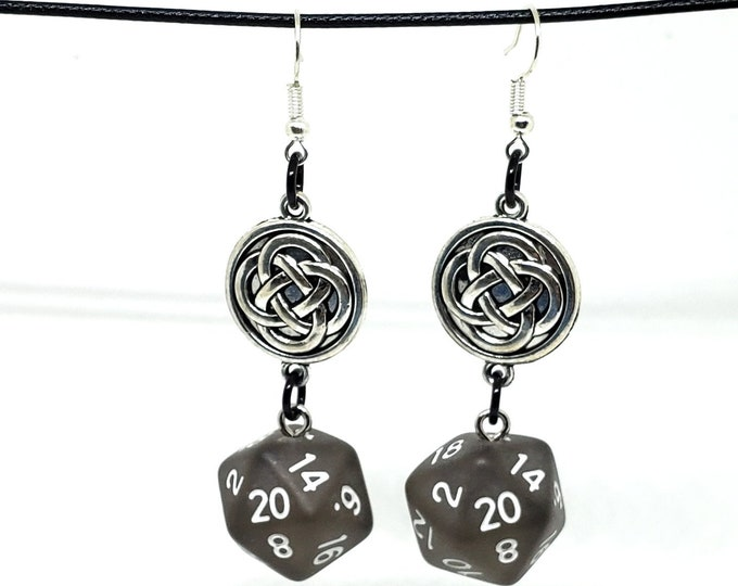 Smoky Black Celtic Charm Nat 20 Earrings - D20 Earrings - D&D Earrings - DND Earrings - Dice Earrings