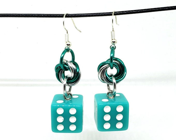 Mermaid Green and White Pipped Dice Earrings - D6 Earrings - D&D Earrings - DND Earrings - Yahtzee Dice - DnD Dice