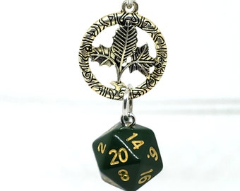 Druid Inspired Dark Green Nat 20 Pendant - Dungeons and Dragons Pendant - D&D Dice - Dice Pendant
