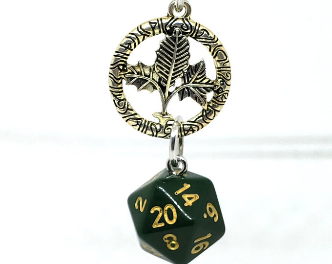 Druid Inspired Dark Green Nat 20 Pendant - Dungeons and Dragons Pendant - D&D Dice - Dice Pendant