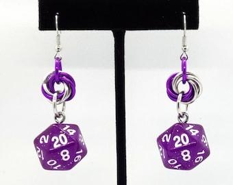 Arcane Aura Nat 20 Earrings - D20 Earrings - D&D Earrings - DND Earrings - DnD Dice - Dice Earrings
