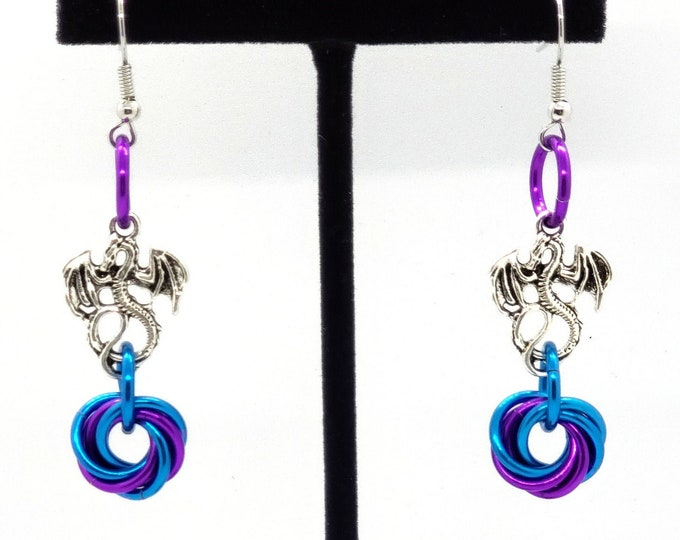 Mobius Swirl Dragon Charm Earrings - Dragon Earrings - Dungeons and Dragons Earrings