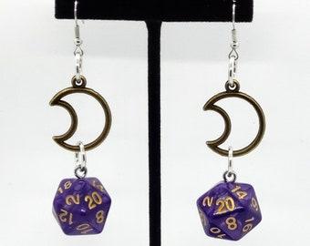 Lucid Dreams Moon Charm Nat 20 Earrings - D20 Earrings - D&D Earrings - DND Earrings - DnD Dice - Dice Earrings