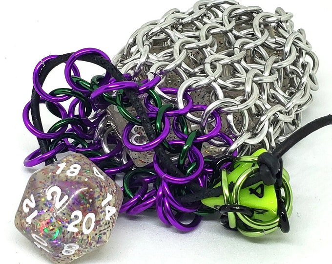 Violet, Green, and Silver Single Set Chainmaille Dicebag - Holds One Set of Dice - Health and Mana - Dice -  Handmade - Chainmail