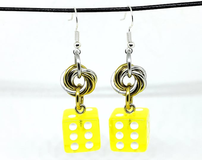 Translucent Yellow and White Pipped Dice Earrings - D6 Earrings - D&D Earrings - DND Earrings - Yahtzee Dice - DnD Dice