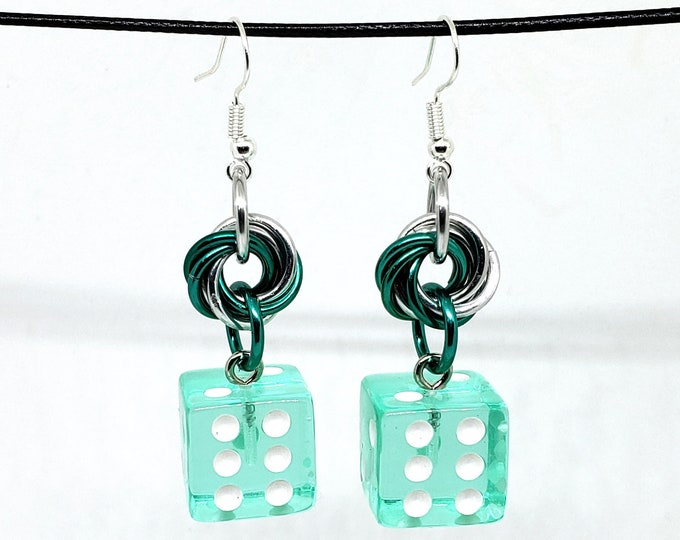 Translucent Mermaid Green and White Pipped Dice Earrings - D6 Earrings - D&D Earrings - DND Earrings - Yahtzee Dice - DnD Dice