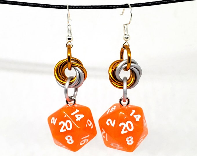 Bright Orange Mobius Nat 20 Earrings - D20 Earrings - D&D Earrings - DND Earrings - DnD Dice - Dice Earrings