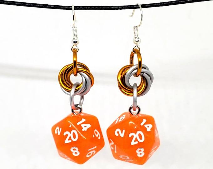 Forge Embers Mobius Nat 20 Earrings - D20 Earrings - D&D Earrings - DND Earrings - DnD Dice - Dice Earrings