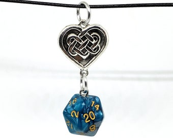 Teal and Silver Swirl Celtic Nat 20 Pendant - Dungeons and Dragons Pendant - D&D Dice - Dice Pendant
