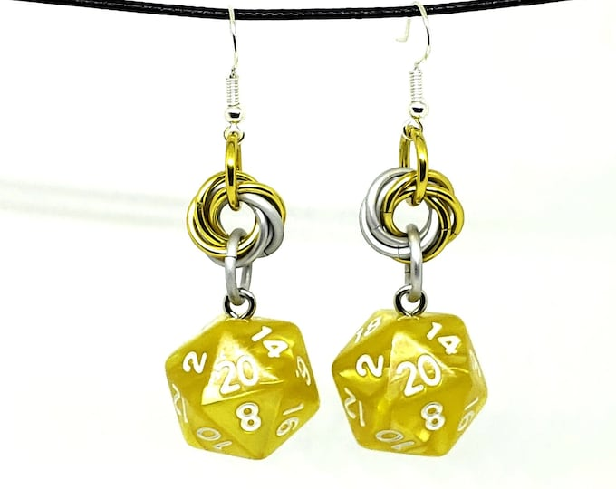 Bright Yellow Mobius Nat 20 Earrings - D20 Earrings - D&D Earrings - DND Earrings - DnD Dice - Dice Earrings
