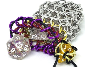 Violet, Red, Yellow, and Silver Single Set Chainmaille Dicebag - Holds One Set of Dice - Health and Mana - Dice -  Handmade - Chainmail