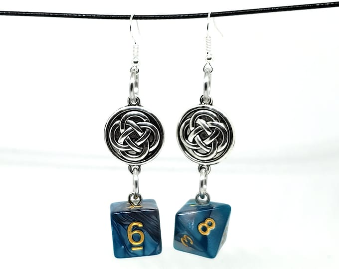 Teal and Silver Swirl Celtic Charm Dice Earrings - D6 and D8 Earrings - D&D Earrings - DND Earrings - DnD Dice