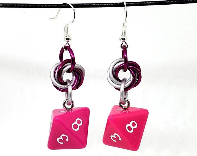 Dragon Berry Dice Earrings -  D8 Earrings - D&D Earrings - DND Earrings - DnD Dice