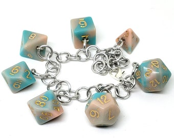 Dream's Essence Polyhedral Dice Set Charm Bracelet - Dungeons and Dragons  Dice - DnD Dice