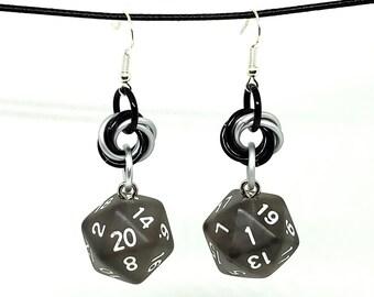 Penumbra Nat 20 and Nat 1 Earrings - D20 Earrings - D&D Earrings - DND Earrings - DnD Dice - Dice Earrings