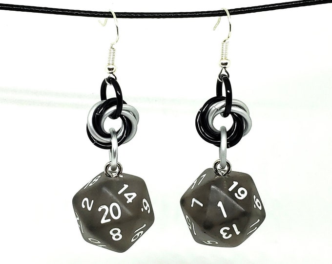 Smoky Black Nat 20 and Nat 1 Earrings - D20 Earrings - D&D Earrings - DND Earrings - DnD Dice - Dice Earrings