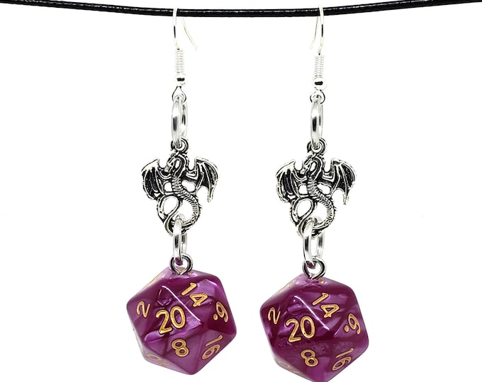 Pearlescent Magenta Dragon Nat 20 Earrings - D20 Earrings - D&D Earrings - DND Earrings - Dice Earrings