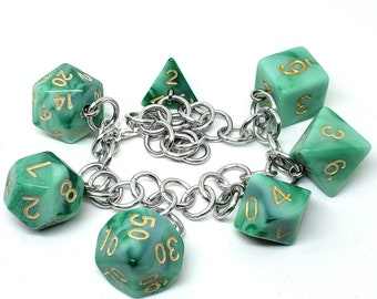 Envy's Touch Polyhedral Dice Set Charm Bracelet - Dungeons and Dragons  Dice - DnD Dice