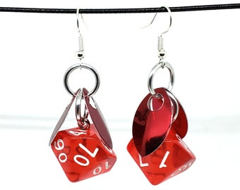 Wings of the Blood Sprite Dice Earrings - D10 and D% Earrings - D&D Earrings - DND Earrings - DnD Dice