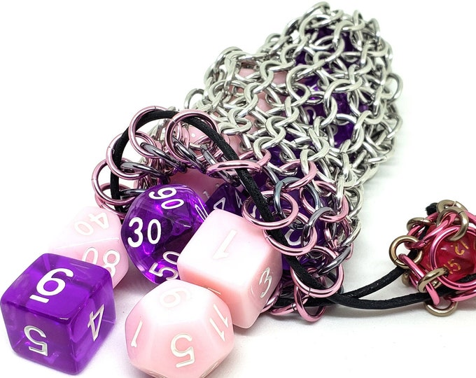 Pink and Gunmetal Accent Silver Chainmaille Dice Bag -  Double Set Bag