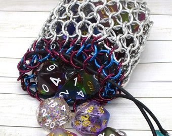 Wine and Turquoise Accent Medium Chainmaille Dice Bag | Dice Pouch | Coin Purse - Chainmail