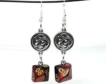 Red and Black Swirl Celtic Charm Dice Earrings - D10 and D% Earrings - D&D Earrings - DND Earrings - DnD Dice