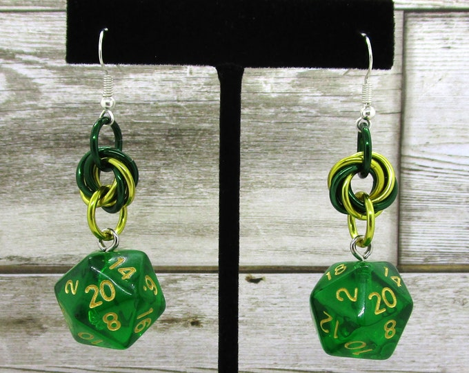 Green Translucent Nat 20 Earrings - D20 Earrings - D&D Earrings - DND Earrings - DnD Dice - Dice Earrings
