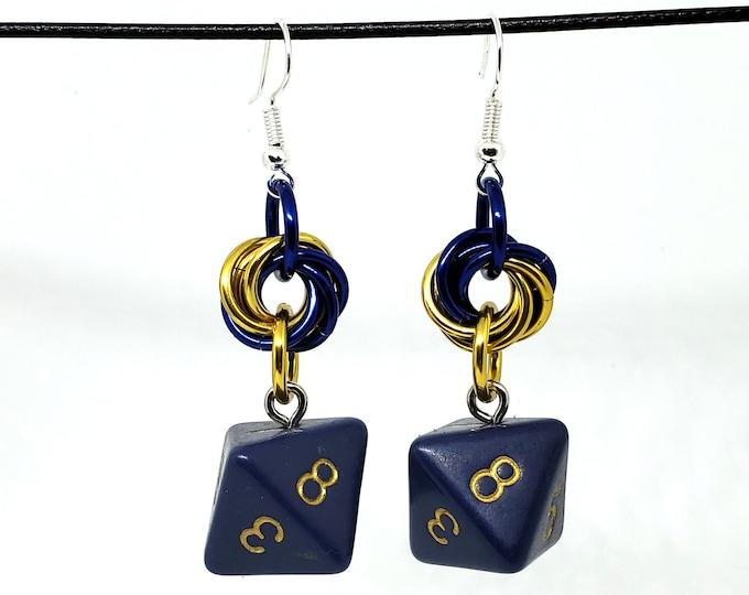 Dreamless Night Dice Earrings -  D8 Earrings - D&D Earrings - DND Earrings - DnD Dice