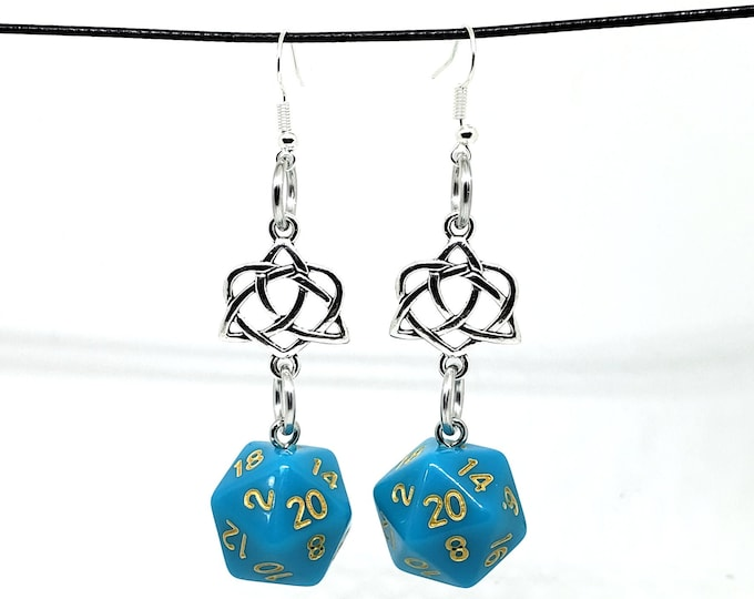 Turquoise Blue Celtic Charm Nat 20 Earrings - D20 Earrings - D&D Earrings - DND Earrings - Dice Earrings