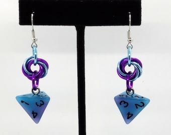 Blue Swirl Glow in the Dark D4 Earrings - D&D Earrings - DND Earrings - DnD Dice - Dice Earrings