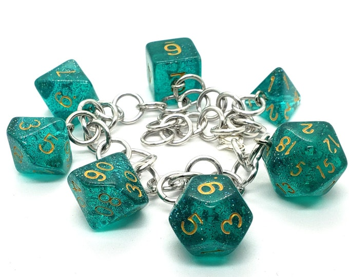Celestial Sea Polyhedral Dice Set Charm Bracelet - Dungeons and Dragons  Dice - DnD Dice