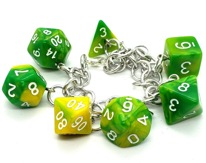 Lemon Lime Swirl Polyhedral Dice Set Charm Bracelet - Dungeons and Dragons  Dice - DnD Dice - Green and Yellow dice