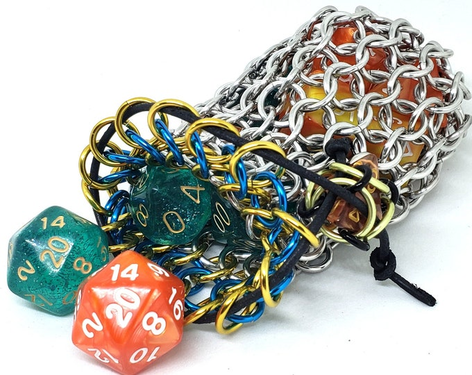 Yellow and Turquoise Accent Silver Chainmaille Dice Bag -  Double Set Bag