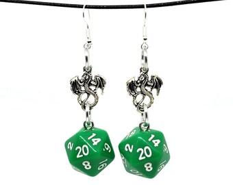 Opaque Green Dragon Nat 20 Earrings - D20 Earrings - D&D Earrings - DND Earrings - Dice Earrings