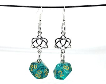 Teal Glitter Celtic Charm Dice Earrings - D10 and D% Earrings - D&D Earrings - DND Earrings - DnD Dice
